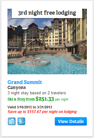 Third night free lodging at Grand Summit at Canyons Resort