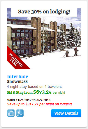 Save 30% on lodging at Interlude, Snowmass