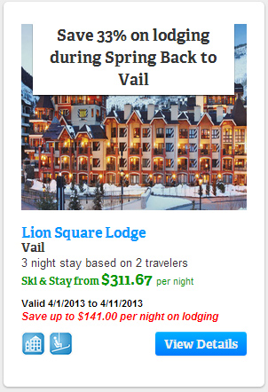 Save 33% on lodging at Lions Square Lodge in Vail