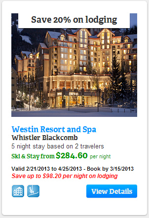 Save 20% on lodging at Westin Resort and Spa, Whistler Blackcomb